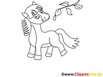 Branche clipart – Cheval dessins à colorier