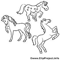 Chevaux clipart – Cheval dessins à colorier
