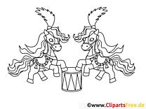Cirque dessins gratuits – Cheval à colorier