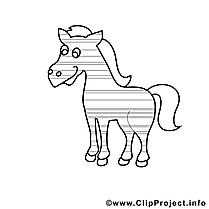 Clipart cavale – Cheval dessins à colorier