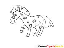 Dessin gratuit poney – Cheval à colorier