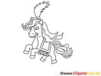 Dessins gratuits poney – Cheval à colorier