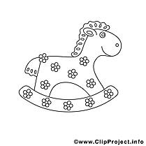 En bois image à télécharger – Cheval à colorier