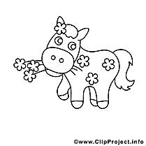 Fleurs clip art – Cheval image à colorier