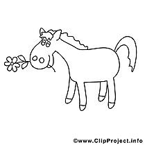 Fleurs dessin – Coloriage cheval à télécharger