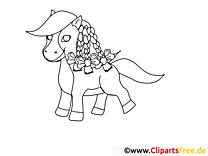 Illustration poney – Cheval gratuit à imprimer