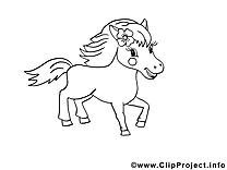 Jolie cheval image – Coloriage cavale illustration
