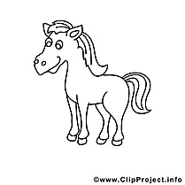 Jument image – Coloriage cheval illustration