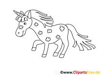 Licorne cliparts gratuis – Cheval à imprimer