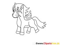 Pégase dessin – Coloriage cheval à télécharger