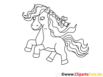 Poney clip art gratuit – Cheval à colorier