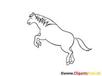 Saute dessin gratuit – Cheval à colorier
