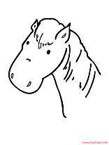 Tête clip art – Cheval image à colorier