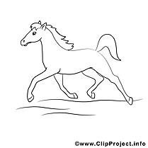 Trottine dessin à télécharger – Cheval à colorier