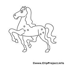 Trottine image gratuite – Cheval à colorier