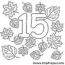 15 feuilles clipart gratuit – Nombres à colorier