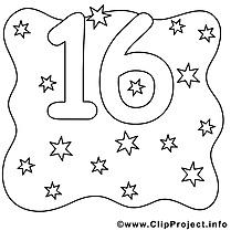 16 étoiles clip art gratuit – Nombres à imprimer