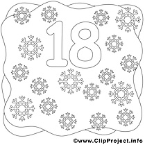 18 flocons image – Coloriage Nombres illustration