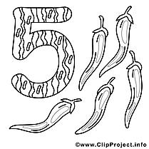5 poivres illustration – Nombres à imprimer