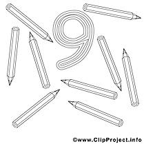 9 crayons image à télécharger – Nombres à colorier