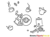 Café clip art – Divers image à colorier