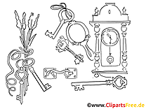 Clefs image gratuite – Divers à colorier