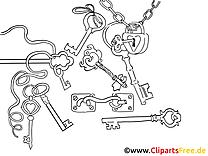 Clés clipart – Divers dessins à colorier