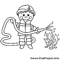 Pompier image – Coloriage divers illustration