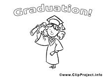 Coloriage diplômée école illustration à télécharger