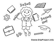École dessins à colorier clipart