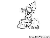 Bergere clip arts à colorier illustrations