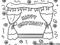 Bon anniversaire clip arts à colorier illustrations
