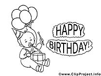 Bon anniversaire coloriage cliparts à télécharger