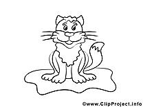 Chat image à colorier cliparts