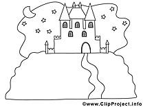 Château clip arts à colorier illustrations