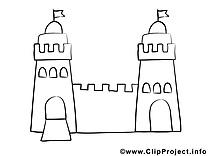 Château image à colorier clipart