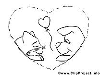 Coeur amoureux clip arts à colorier illustrations