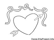 Coeur clip art à imprimer dessin