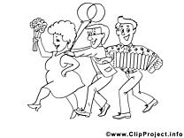Fête illustration à colorier clipart