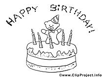Gâteau clip arts à colorier illustrations