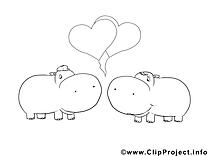 Hippopotame dessin gratuit à imprimer