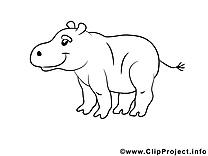 Hippopotame illustration à colorier clipart