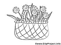 Panier fleurs coloriage clip art gratuit