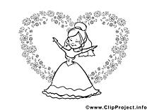 Princesse illustration à colorier gratuite