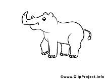 Rhinocéros illustration à colorier gratuite