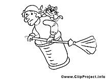 Vieille sorcière clip arts à colorier illustrations