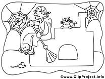 Vieille sorcière coloriage dessins gratuits