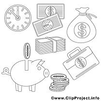 Argent dessins gratuits – Économie à colorier