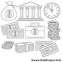Banque clip art gratuit – Économie à colorier