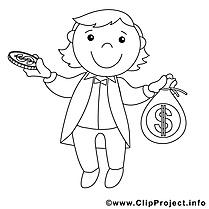 Banquier image gratuite – Économie à colorier